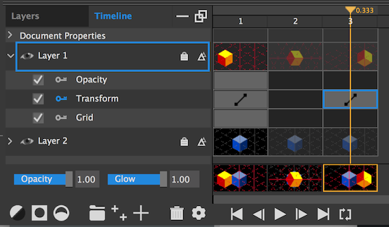 Make sure the key is highlighted to enable keyframed animation of a layer property, such as Transform.
