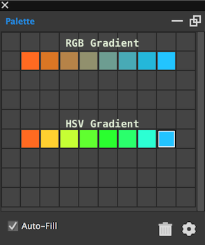 The Hexels palette lets you create gradients in RGB or HSV color space.